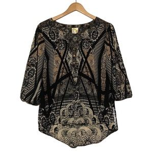 Anthropologie Printed Popover Blouse